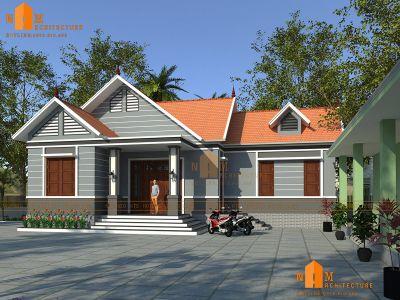 Thiết kế nhà một tầng sân vườn rộng tại Hải Phòng DCBSV-0001