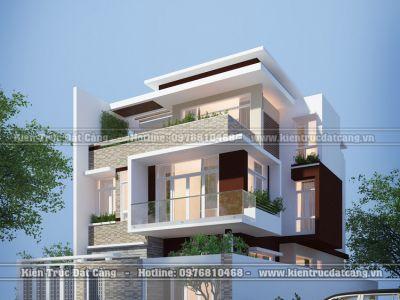 Thiết kế biệt thự hiện đại 3 tầng mặt tiền 8m tại TP.Hạ Long, Quảng Ninh
