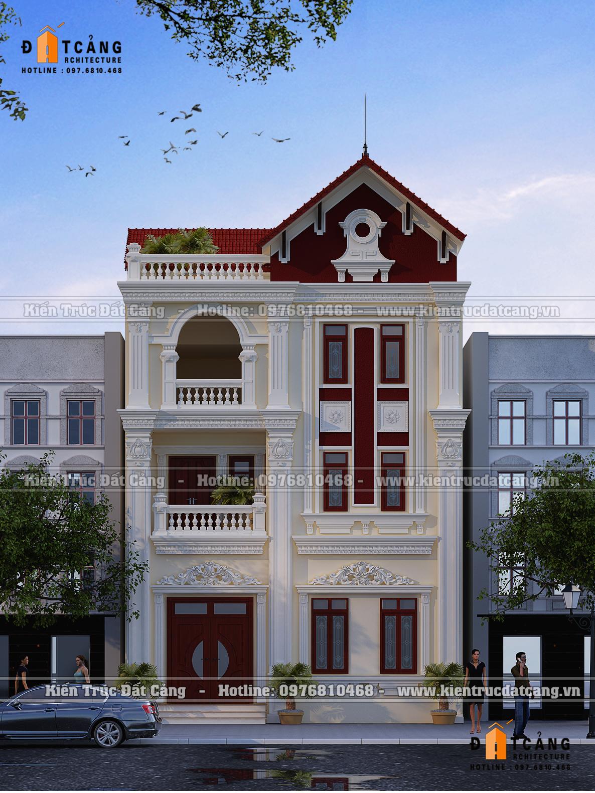 Phương án thiết kế biệt thự Pháp mái ngói đỏ tân cổ điển quyến rũ
